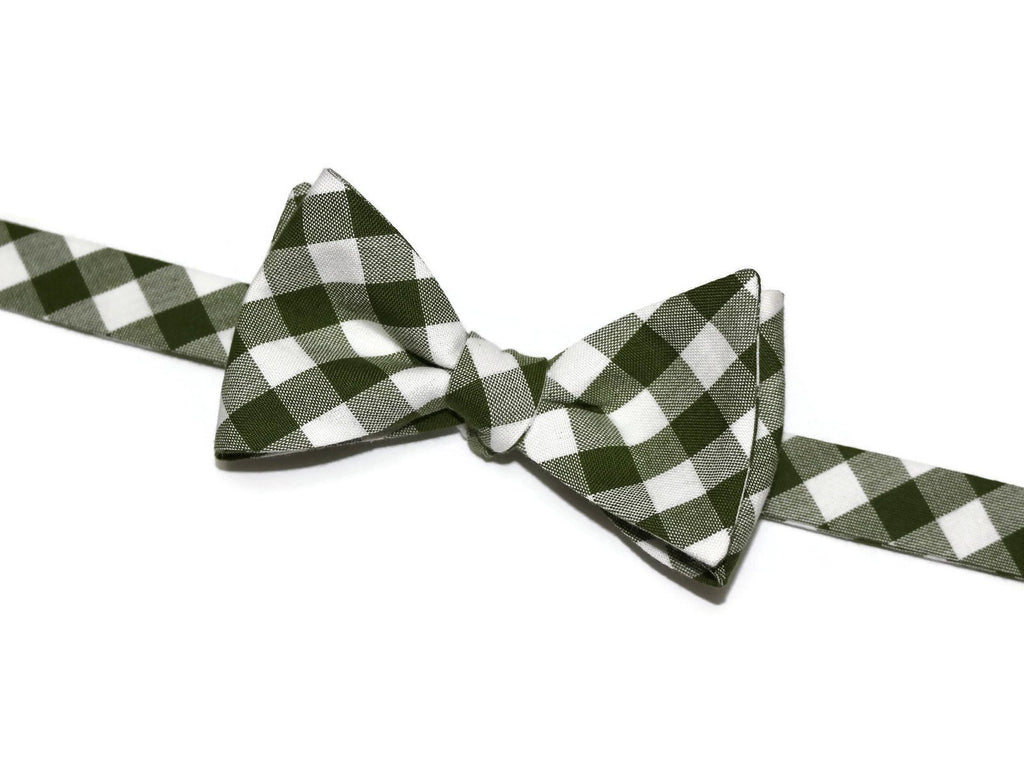Avocado Gingham Check Bow Tie