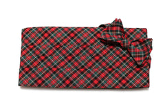 Hunter & Red Tartan Plaid Cummerbund & Bow Tie