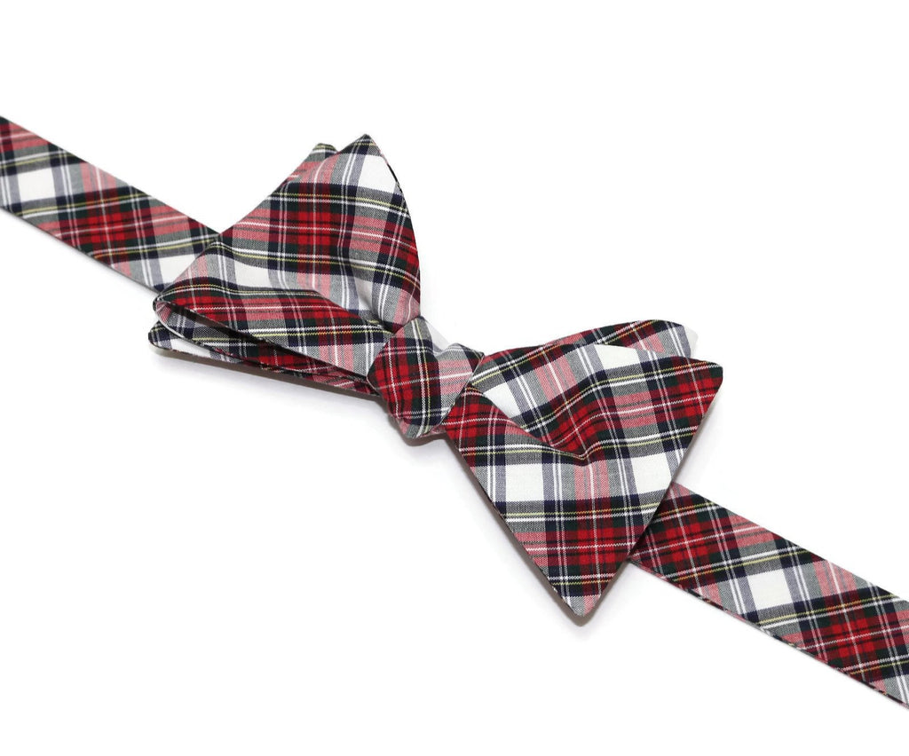 Red & White Tartan Plaid Bow Tie