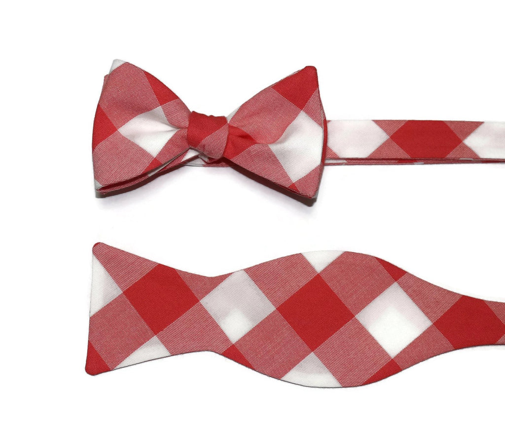 Coral Buffalo Plaid Bow Tie