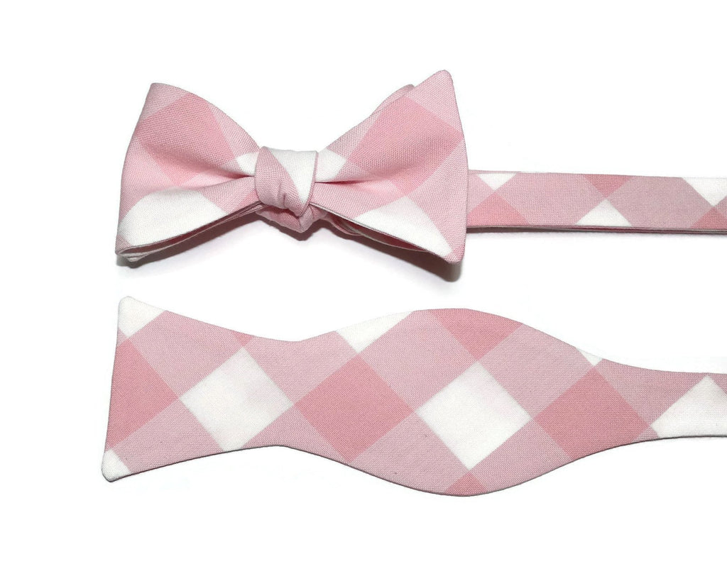 Petal Pink Buffalo Plaid Bow Tie