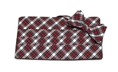 Red & White Tartan Plaid Cummerbund & Bow Tie