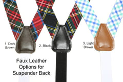 Aqua Seersucker Suspenders - Mens