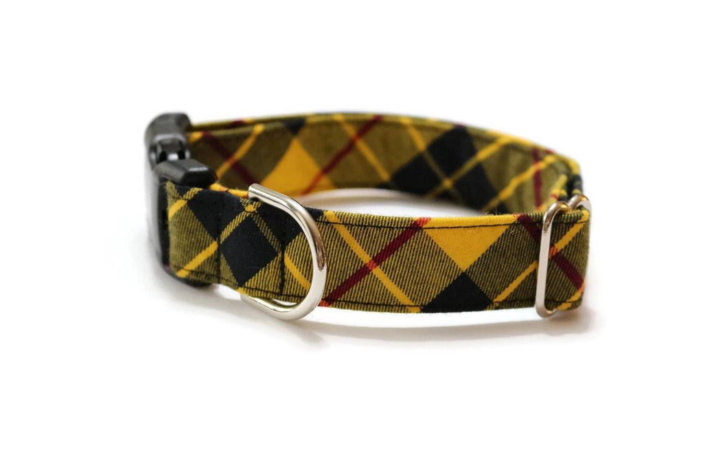 Yellow & Black Tartan Plaid Dog Collar