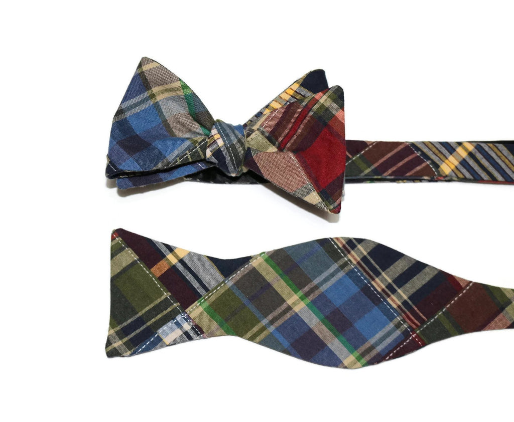 Madras Patchwork Plaid Bow Tie