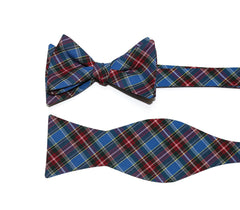 Royal Blue Tartan Plaid Bow Tie