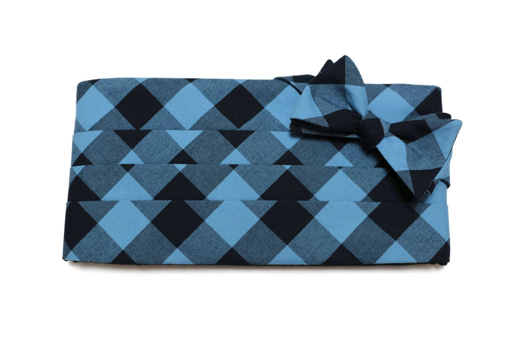 Indigo & Navy Buffalo Plaid Cummerbund & Bow Tie