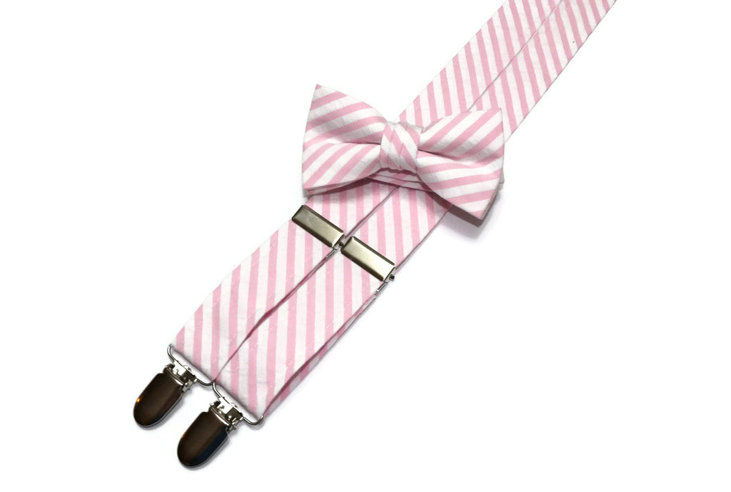Pink Seersucker Suspenders - Boys