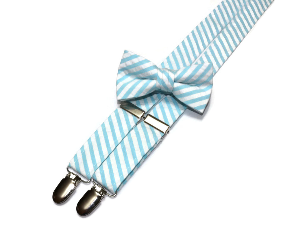 Aqua Seersucker Suspenders - Boys