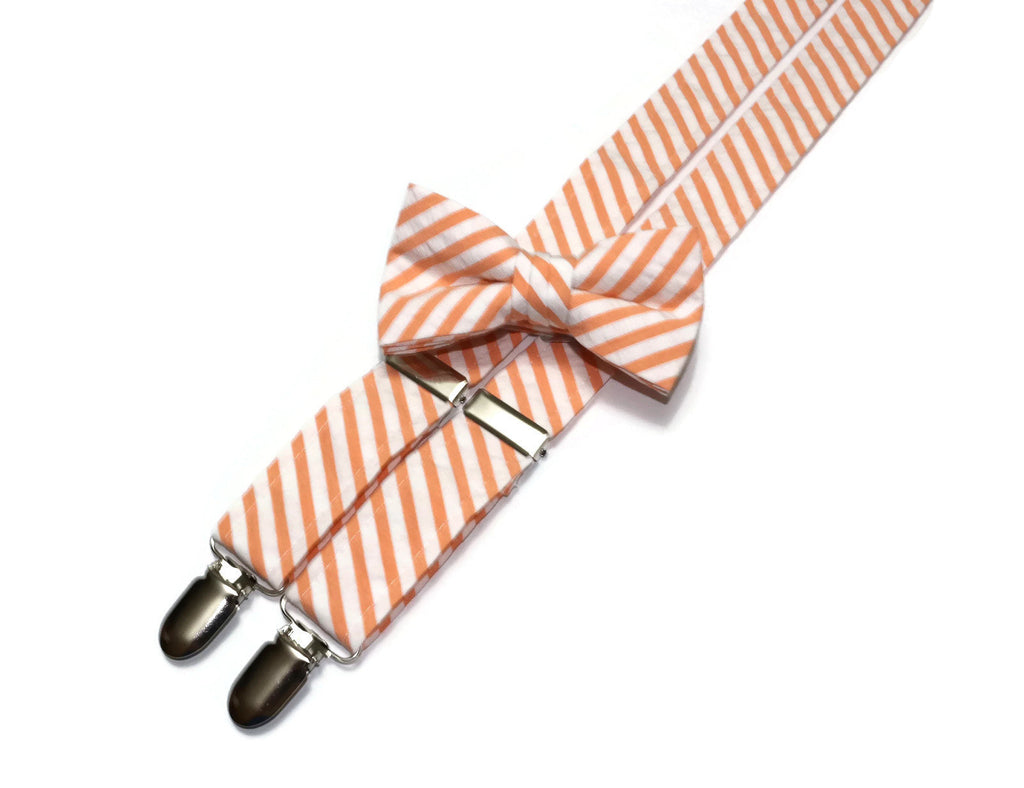 Orange Seersucker Suspenders - Boys