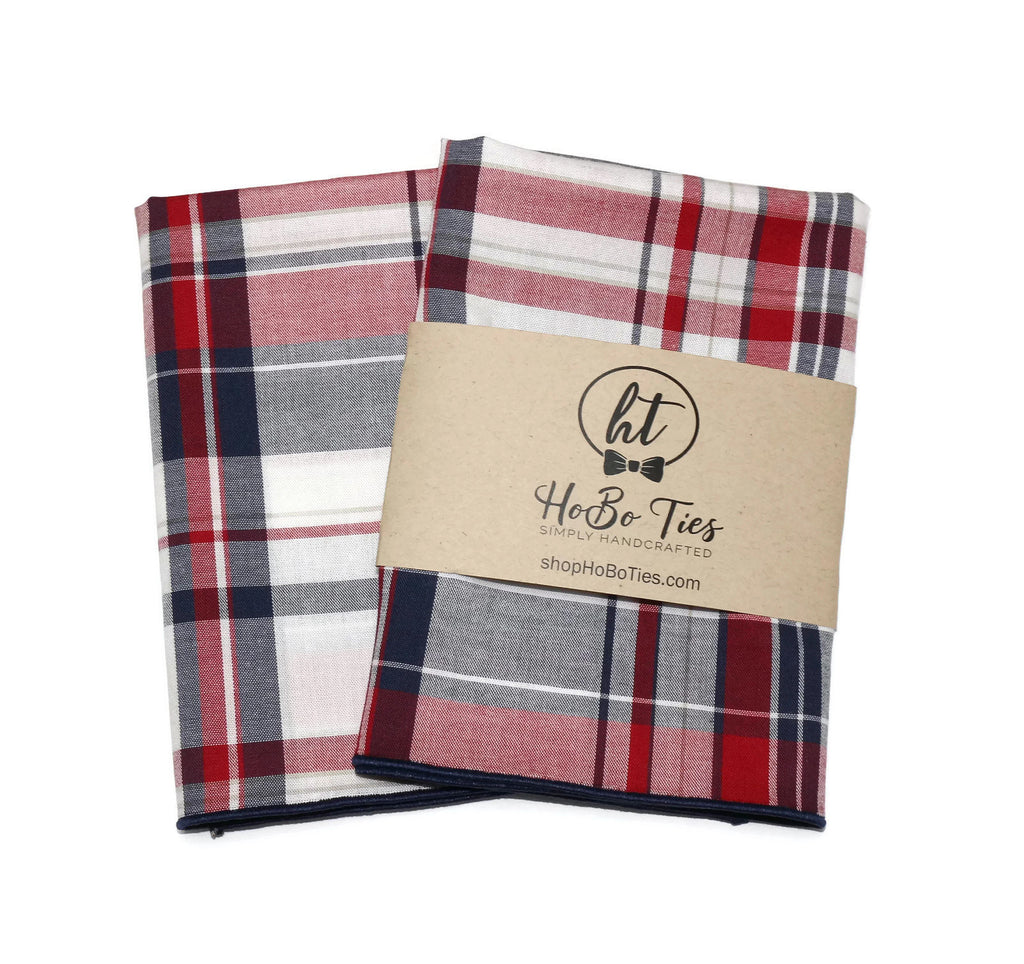 Navy & Red Plaid Pocket Square (Mens)