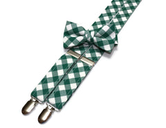 Forest Green Gingham Check Suspenders - Boys