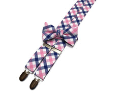 Pink & Blue Tattersall Check Suspenders - Boys