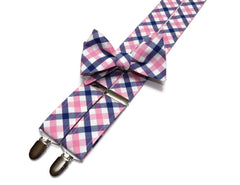 Pink & Blue Tattersall Suspenders - Mens