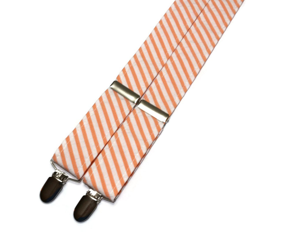 Orange Seersucker Suspenders - Mens