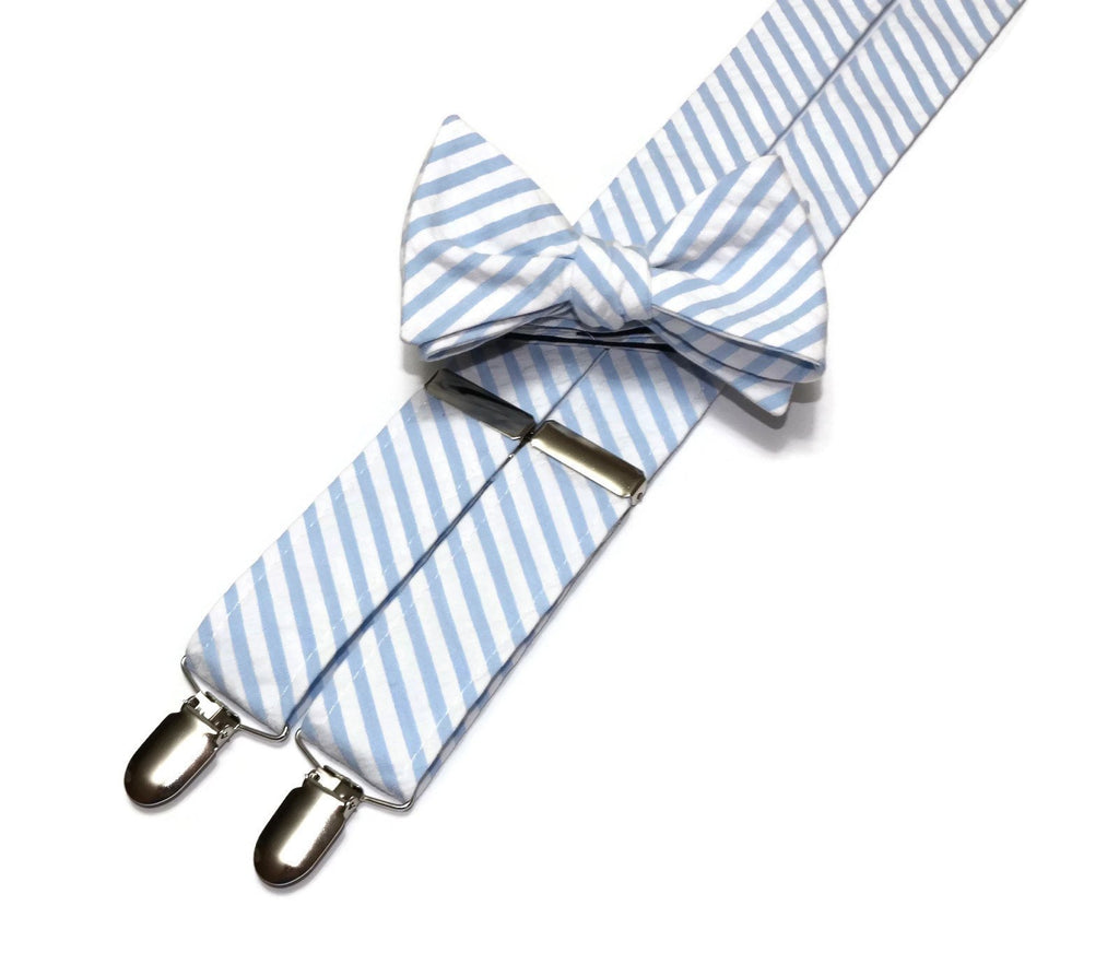 Light Blue Seersucker Suspenders - Mens