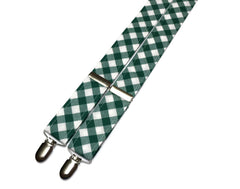 Forest Green Gingham Check Suspenders - Mens