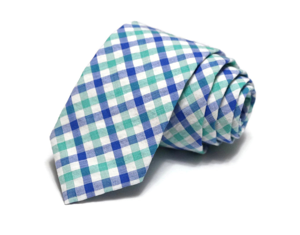 Blue & Green Plaid Seersucker Necktie