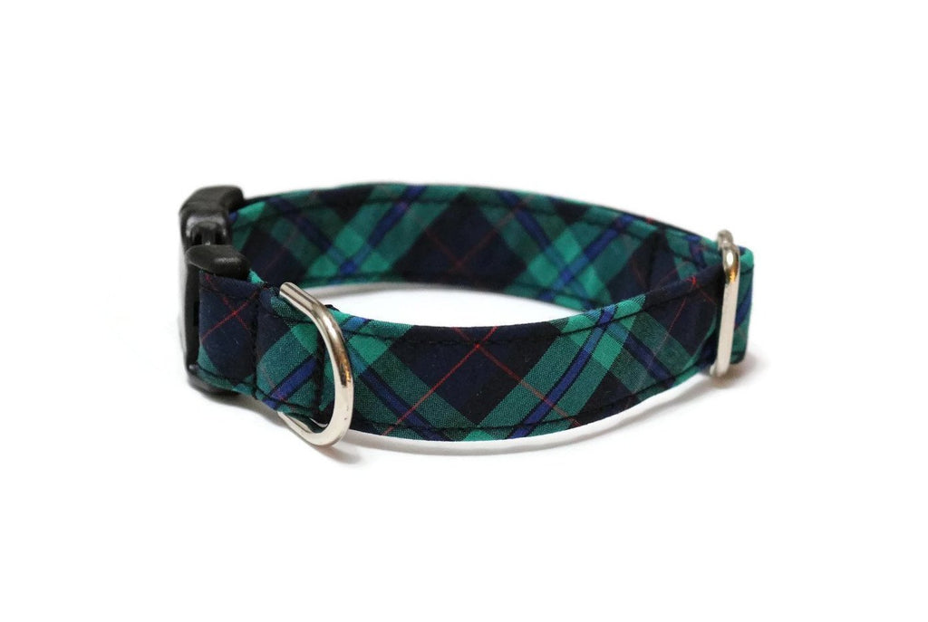 Navy, Green, & Red Tartan Plaid Dog Collar