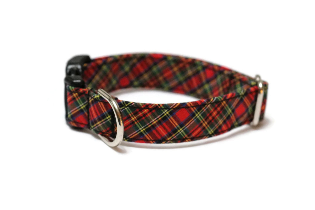 Red & Green Tartan Plaid Dog Collar