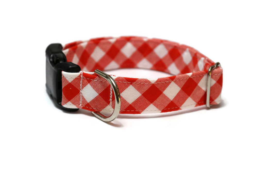 Flame Gingham Check Dog Collar