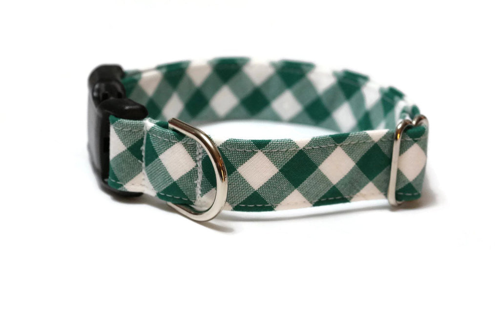 Forest Green Gingham Check Dog Collar