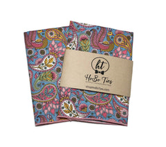 Pink & Blue Paisley Floral Pocket Square (Mens)