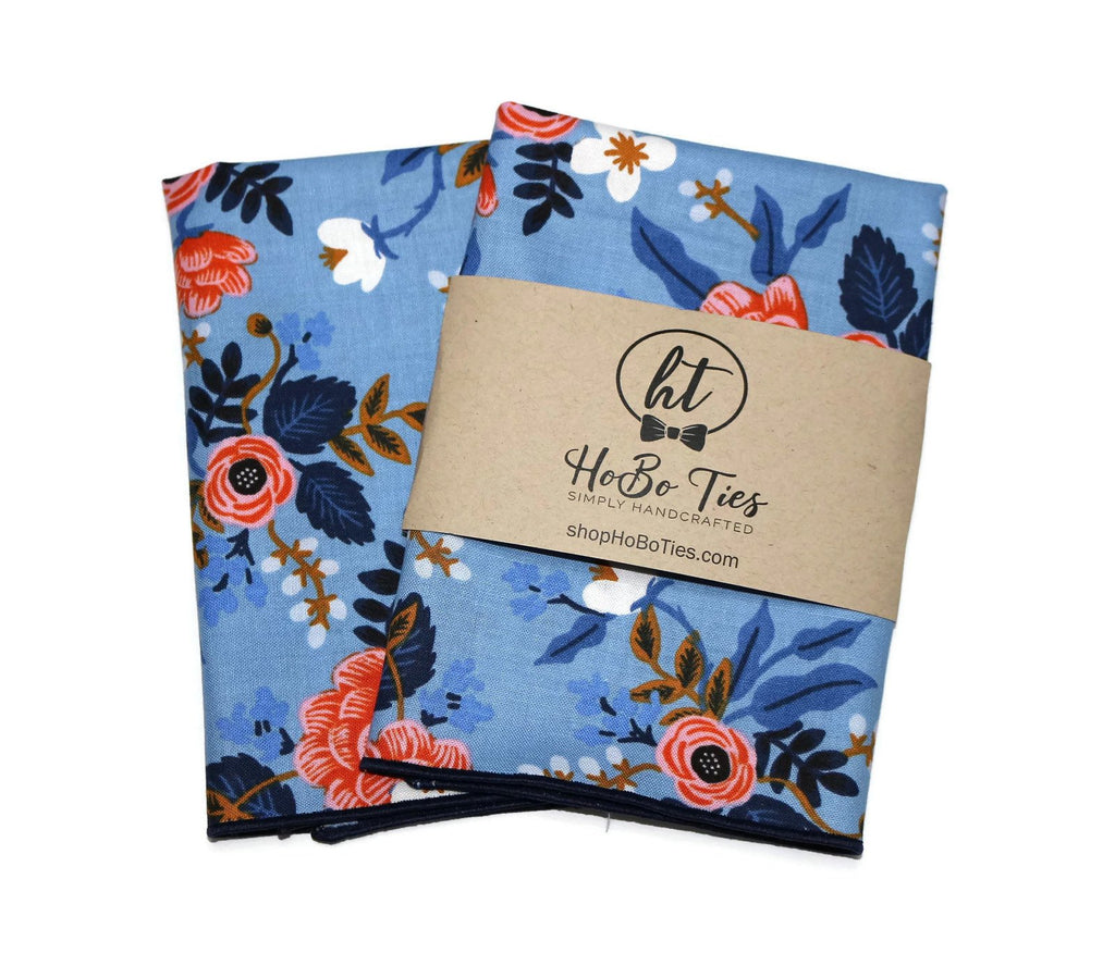 Blue & Pink Floral Pocket Square (Mens)