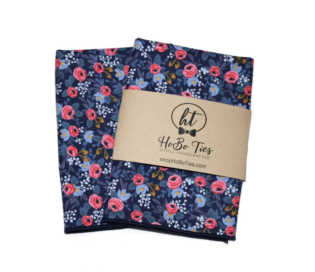 Navy & Pink Floral Pocket Square (Mens)