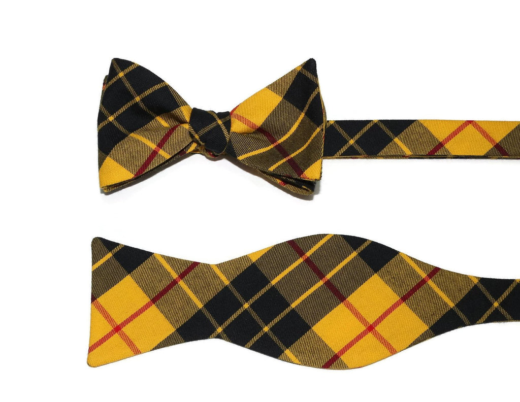 Yellow & Black Tartan Plaid Bow Tie