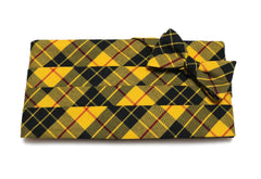 Yellow & Black Tartan Plaid Cummerbund & Bow Tie