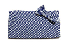 Nautical Blue Gingham Check Cummerbund & Bow Tie