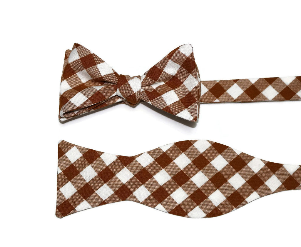 Roasted Pecan Gingham Check Bow Tie