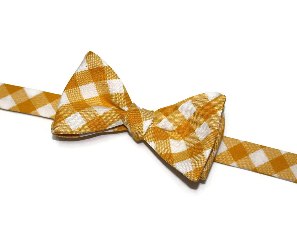 Grellow Gingham Check Bow Tie