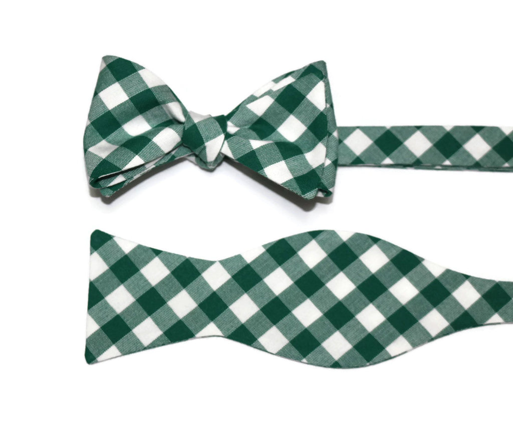 Forest Green Gingham Check Bow Tie