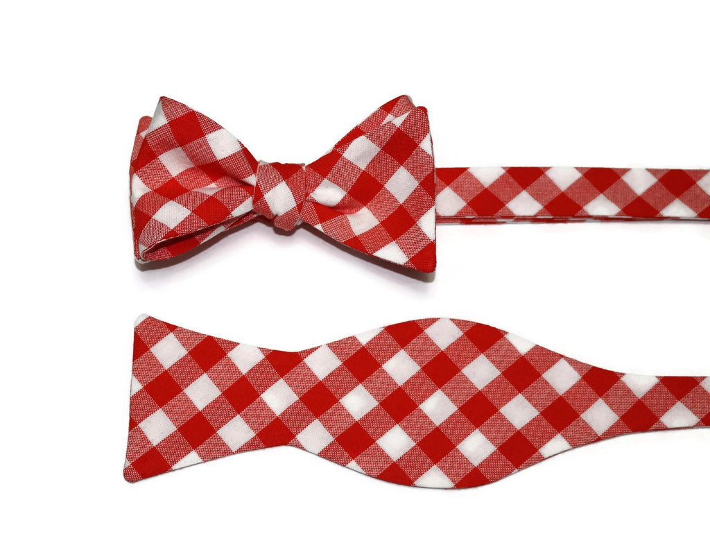 Flame Gingham Check Bow Tie