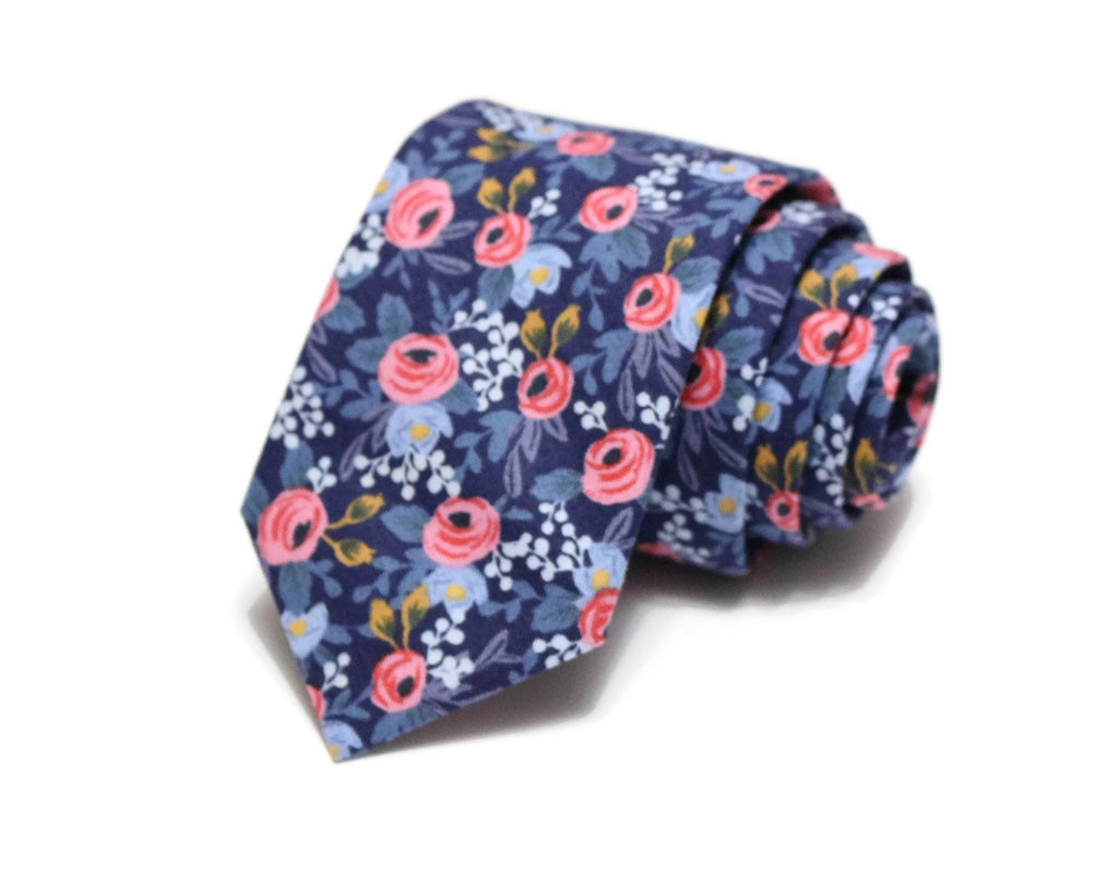 Navy & Pink Floral Necktie - Youth