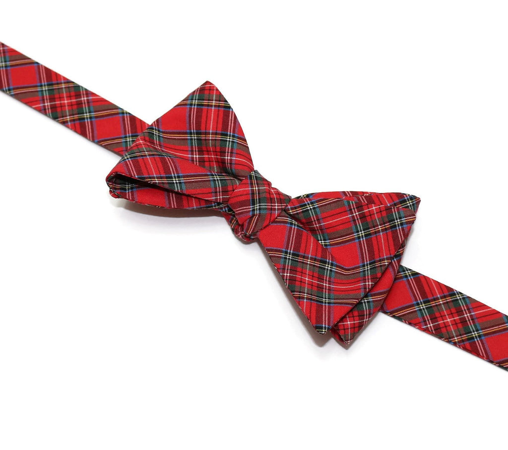 Red Tartan Plaid Bow Tie