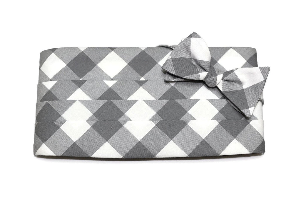 Gray Buffalo Plaid Cummerbund & Bow Tie