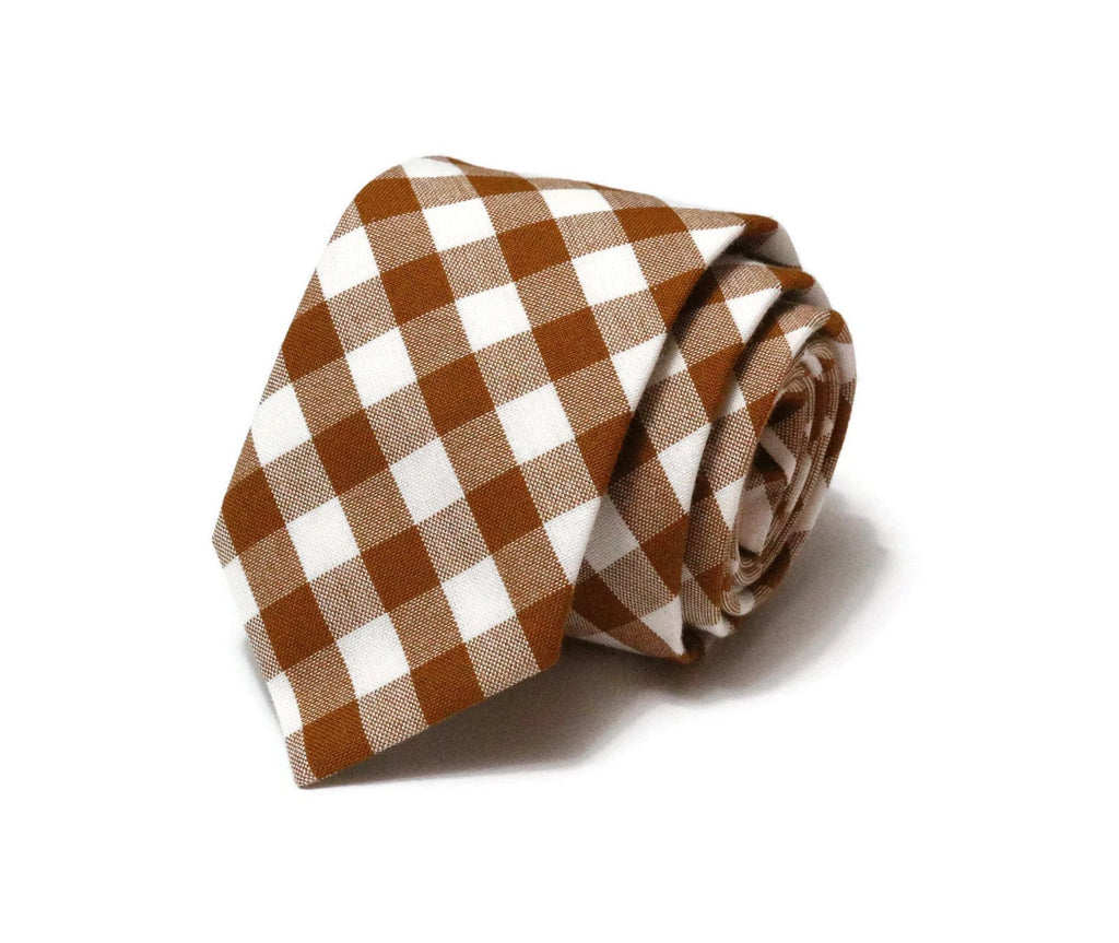 Roasted Pecan Gingham Check Necktie