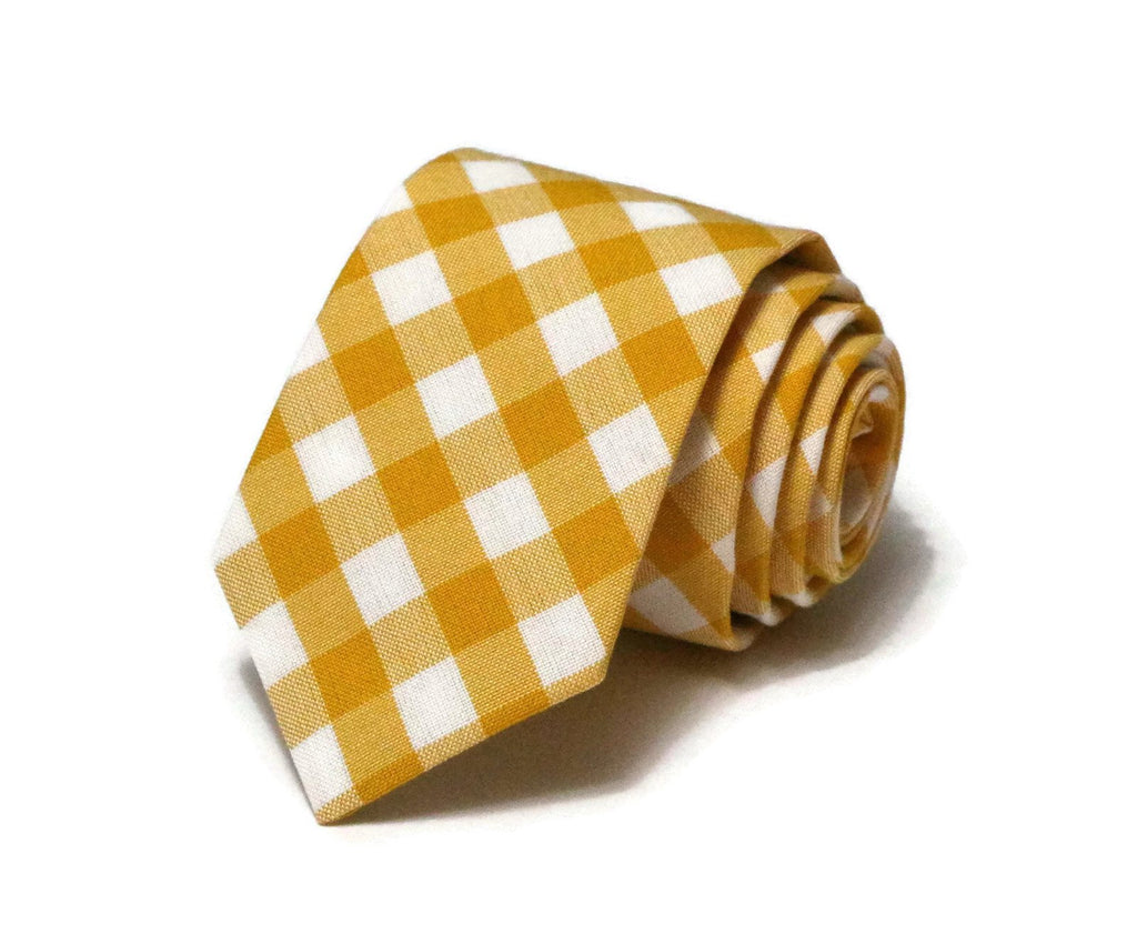 Grellow Gingham Check Necktie