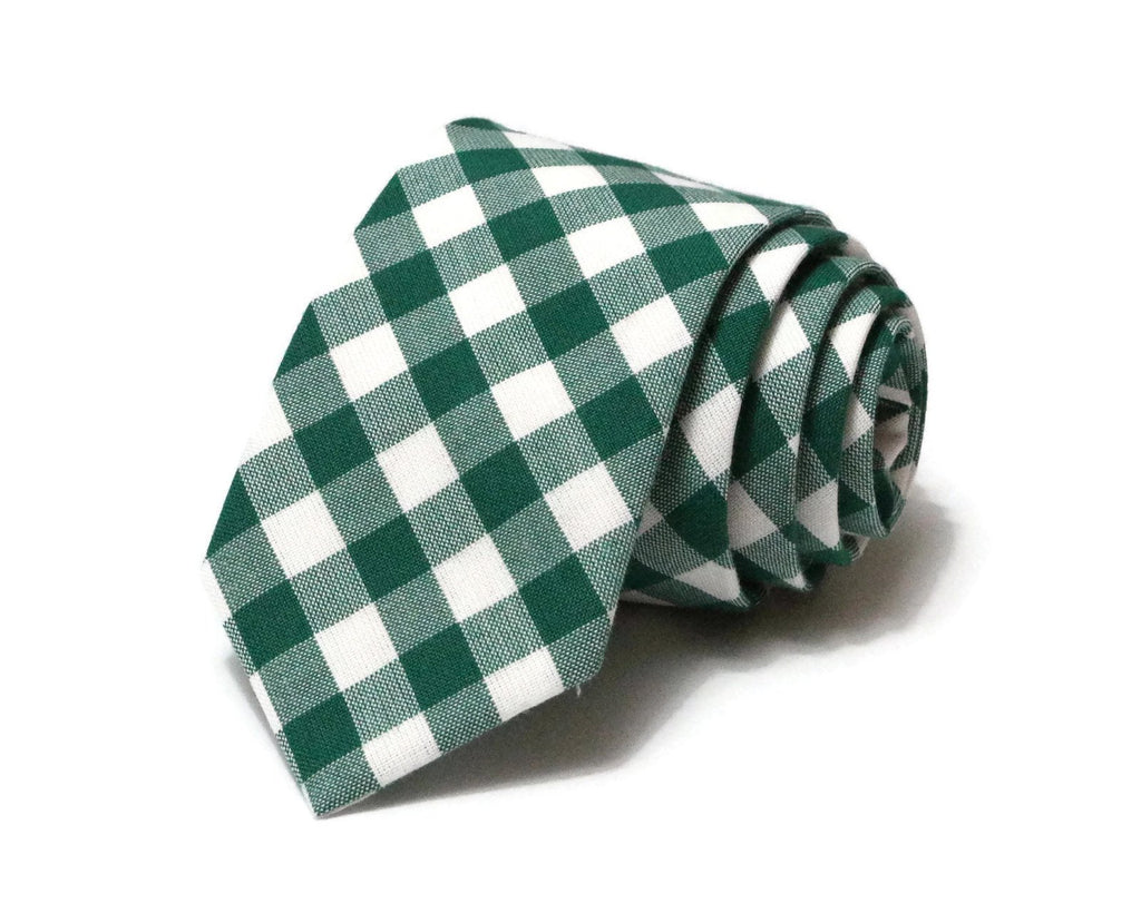 Forest Green Gingham Check Necktie