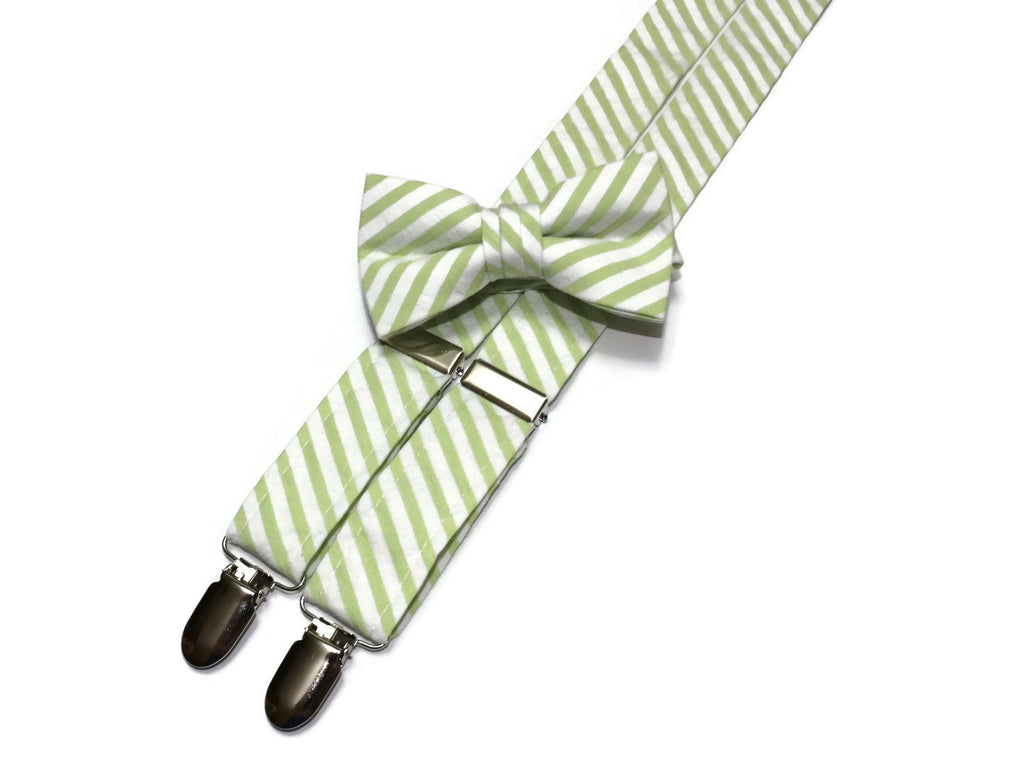Lime Green Seersucker Suspenders - Boys