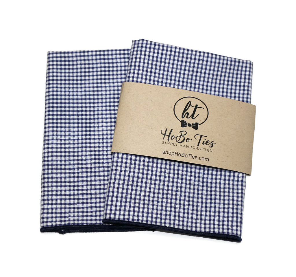 Navy Check Seersucker Pocket Square (Mens)