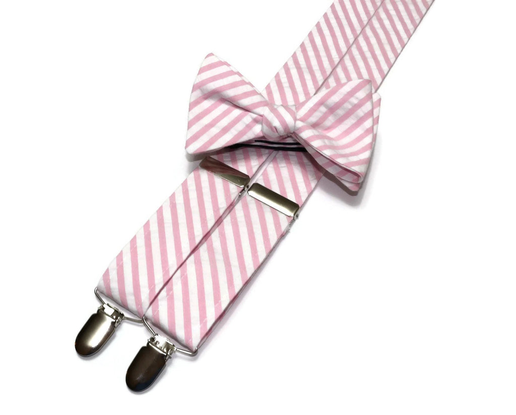 Pink Seersucker Suspenders - Mens