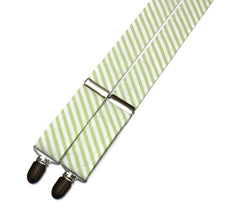 Lime Green Seersucker Suspenders - Mens