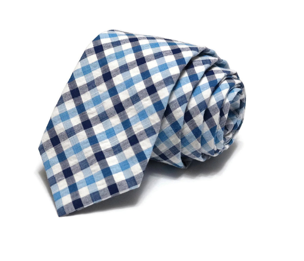 Navy & Blue Plaid Seersucker Necktie