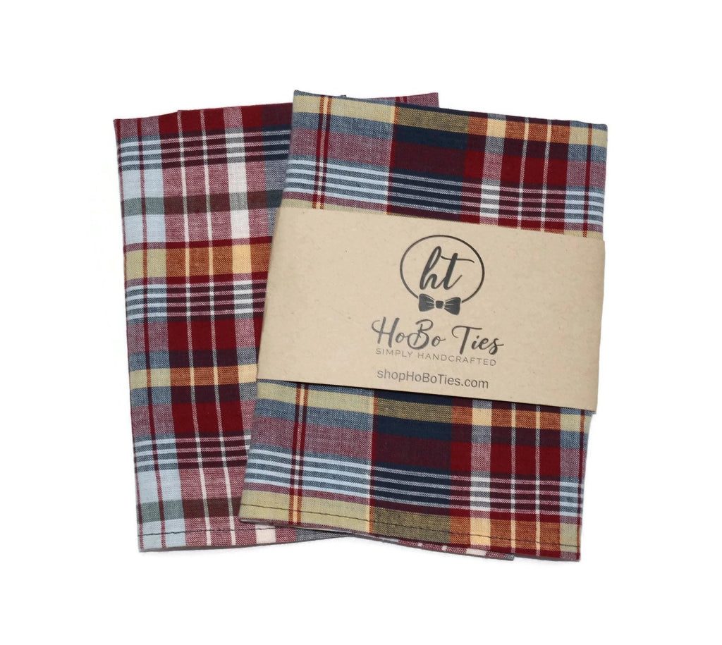 Navy & Red Madras Plaid Pocket Square (Mens)