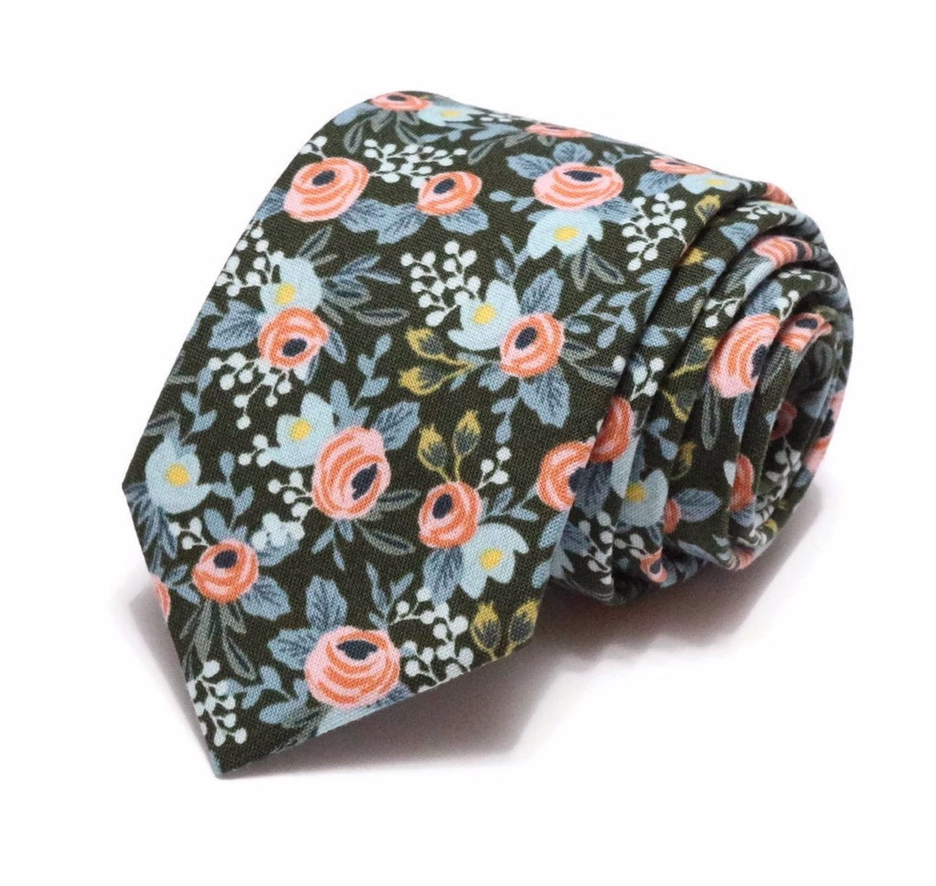 Hunter Green & Pink Floral Necktie