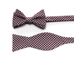 Burgundy Gingham Check Cummerbund & Bow Tie